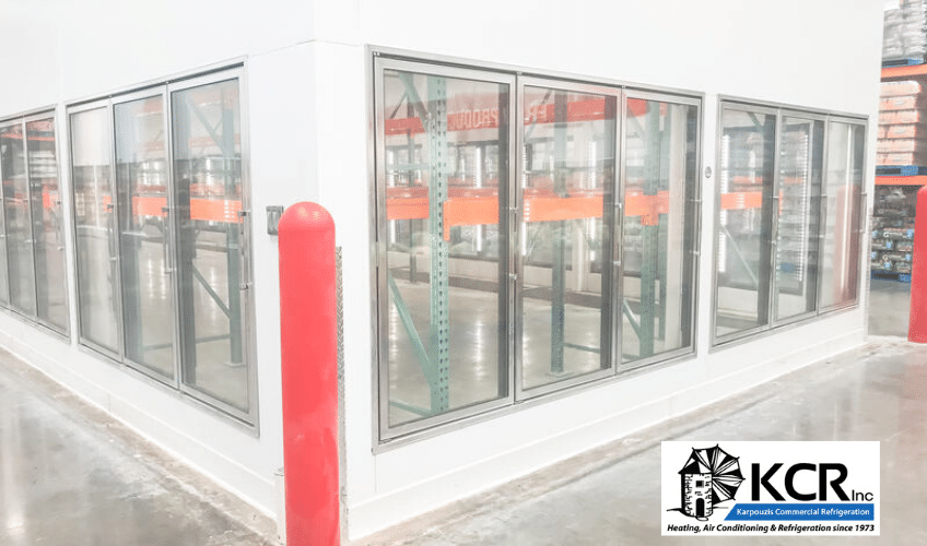 Industrial warehouse displaying commercial coolers and freezer maintenance.
